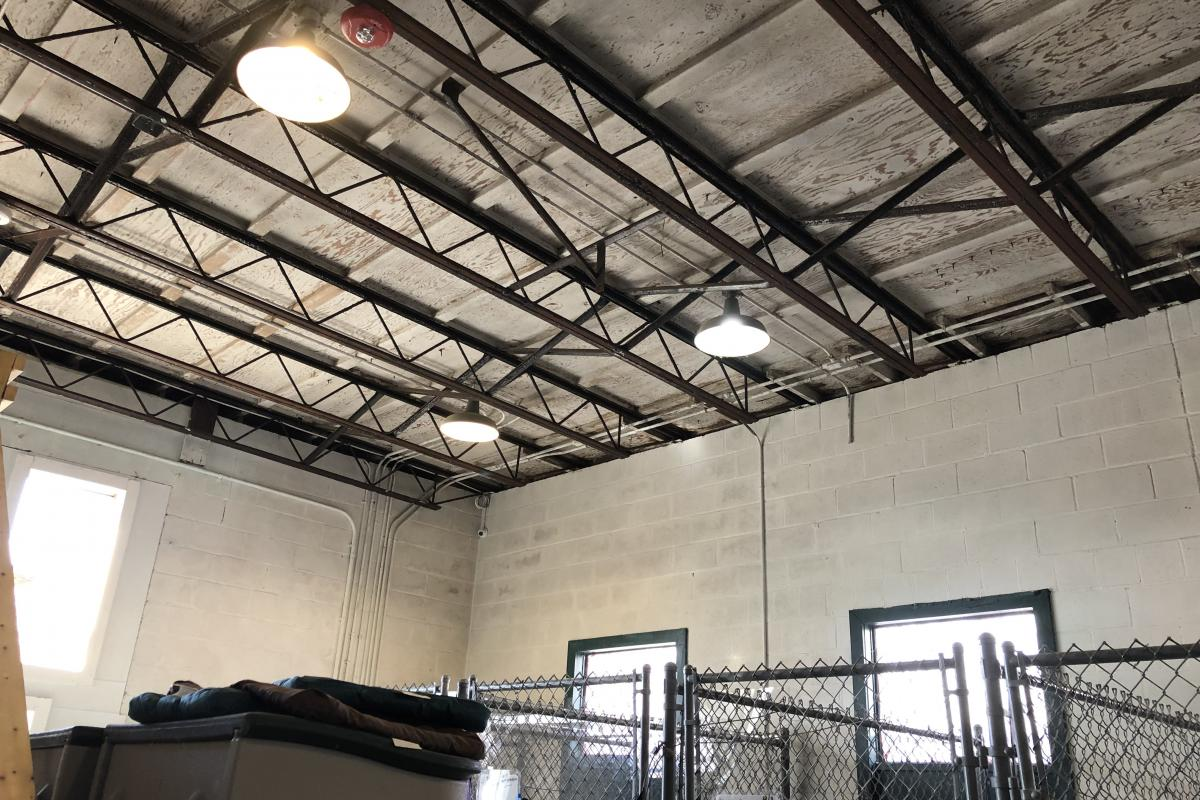 Open ceiling rusted beams